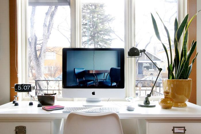 home office desk natural light